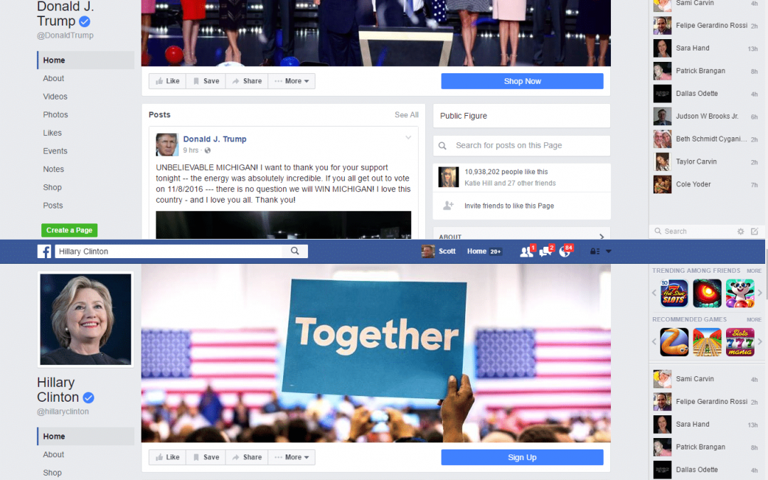 2016 US Presidential Election Facebook Comparison